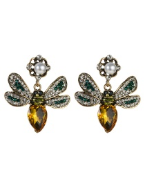 Fashion Gold Butterfly Inlaid Colored Diamond Multi-layer Earrings