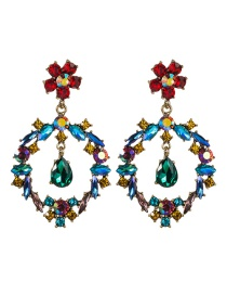 Fashion Color Drop-shaped Flower Multi-layer Diamond Earrings
