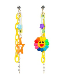 Fashion Color Resin Chain Alloy Pins Eraser Smiley Sun Flower Earrings