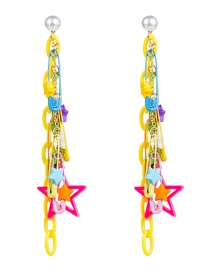 Fashion Color Alloy Pin Resin Five-pointed Star Chain Earrings