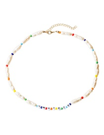 Fashion Color Natural Stone Rice Beads Beaded Resin Letter Anxiety Necklace