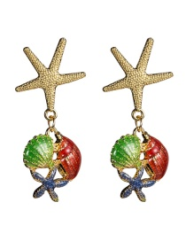 Fashion Color Alloy Starfish Drop Oil Shell Earrings