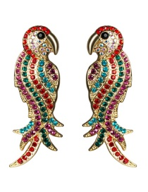 Fashion Red Parrot Acrylic Diamond Earrings