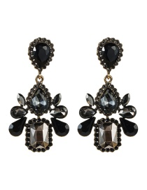 Fashion Black Multi-layer Drop-shaped Acrylic Diamond Earrings