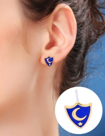 Fashion Shield Earrings Shield Star Moon Asymmetric 925 Sterling Silver Stud Earrings