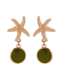 Fashion Avocado Geometric Starfish Drop Earrings
