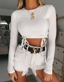 Fashion White Solid Color Tight-fitting Umbilical Top