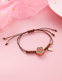 Fashion Brown Braided Rope Flower Bracelet