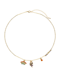 Fashion Gold Unicorn Alloy Necklace