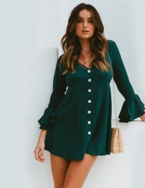 Fashion Green Ruffled Sleeve V-neck Button Dress