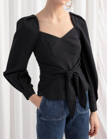 Fashion Black Party Leader Tied Rope Shirt