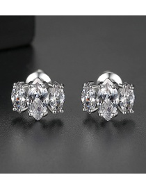 Fashion Platinum Copper Inlay Zircon Earrings