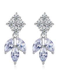 Fashion Platinum Inlaid Zircon Earrings