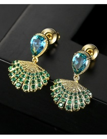 Fashion Green Shell-shaped Copper-studded Zircon Earrings
