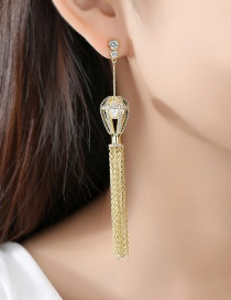 Fashion 18k Gold Lantern Tassel Earrings