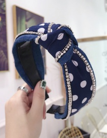Fashion Navy Blue Wave Polka Dot Denim Fabric With Diamond Knotted Wide-brimmed Headband