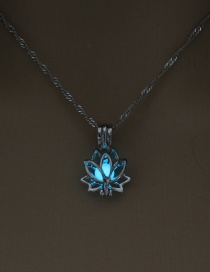 Fashion Blue And Green Lotus Openwork Lotus Night Bead Necklace