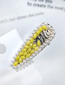 Fashion Yellow Rhinestone Pearl Drop Shaped Duckbill Clip Full Diamond Pearl Hair Duckbill Clip