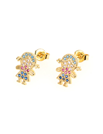 Fashion Girl Gold Asymmetrical Boy Girl Micro Zircon Earrings