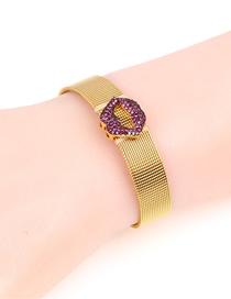 Fashion Gold Lip Stainless Steel Mesh Strap Bracelet