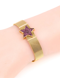 Fashion Rose Red Micro-inlaid Diamond Five-pointed Star Stainless Steel Mesh Strap Bracelet