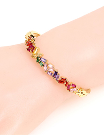 Fashion Gold Copper Plated Diamond-studded Open Bracelet