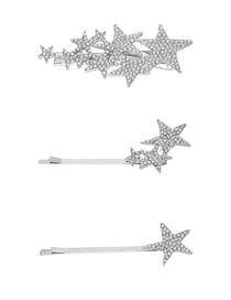 Fashion Three Pieces Of Silver Alloy Diamond-studded Star Hairpin