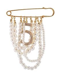 Fashion Gold Pearl Flash Drill Brooch