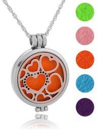Fashion Ancient Red Copper Luminous Heart Pattern Phase Box Aromatherapy Open Necklace