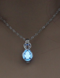 Fashion Sky Blue Heart Hollow Guitar Styling Luminous Necklace