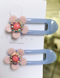 Fashion Pink Blue Small Flower Hairpin