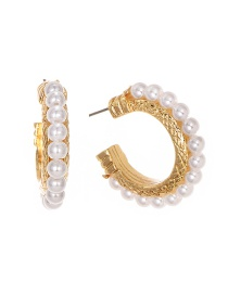 Fashion Gold Alloy Pearl Stud Earrings