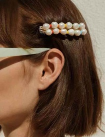Fashion Color Alloy Pearl Wood Beaded Hair Clip