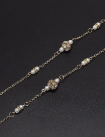 Fashion Gold Lantern Chain Rhinestone Pearl Ball Glasses Chain