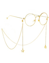 Fashion Gold Non-slip Metal Five-star Zircon Glasses Chain