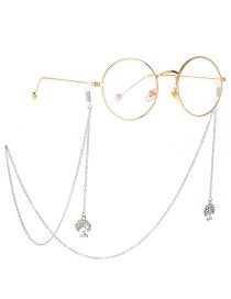 Fashion Silver Rhinestone Life Tree Metal Glasses Chain
