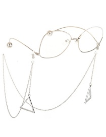 Fashion Silver Transparent Rhinestone Non-slip Triangle Glasses Chain