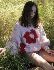 Fashion Pink Coarse Wool Flower Pullover Sweater