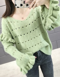Fashion Green Fungus Hole Pullover Sweater