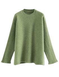 Fashion Green Round Neck Hem Slit Sweater