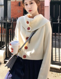 Fashion White Thirteen Buckle Short Large Lapel Sweater