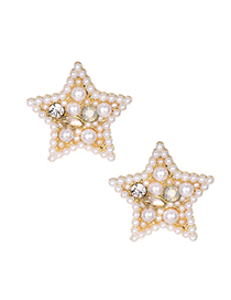 Fashion White Alloy Diamond-studded Five-pointed Star Stud Earrings
