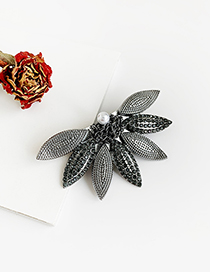 Fashion Gun Black Alloy-encrusted Fan-shaped Duckbill Hairpin