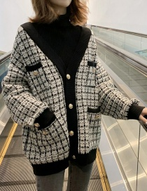 Fashion Black Colorblock Plaid Knit Cardigan