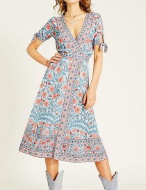 Fashion Blue Begonia Flower Dress