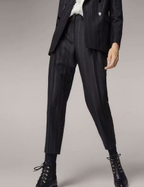Fashion Black Striped Slacks