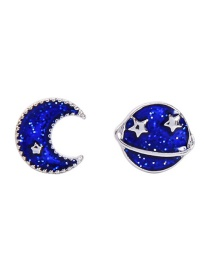 Fashion Blue Drip Oil S925 Sterling Silver Starry Star And Moon Asymmetrical Earrings
