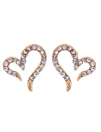 Fashion Gold Alloy Diamond Heart Stud Earrings