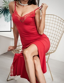 Fashion Red Split Sling Sexy Lace Nightdress