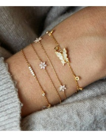 Fashion Gold Alloy Chain With Diamond Butterfly Flower Bracelet Set Of 4